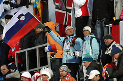 Slovenian Fans at Normal Hill Individual Ski jumps at FIS Nordic World Ski Championships Liberec 2008, on February 21, 2009, in Jested, Liberec, Czech Republic. (Photo by Vid Ponikvar / Sportida)