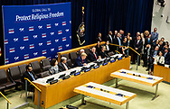 """President Donald Trump speaking  at the """"Global Call To Protect Religious Freedom"""" conference at the United Nations General Assembly at the United Nations Headquarters, September 23, 2019. President Trump stopped in at the Climate Action Summit for about fifteen minutes, but didn't participate."""