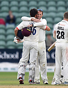 Marcus Trescothick of Somerset is hugged by Sir Alastair Cook of Essex as the game finishes in a draw and Essex win the title and Marcus Trescothick officially retires from playing during the Specsavers County Champ Div 1 match between Somerset County Cricket Club and Essex County Cricket Club at the Cooper Associates County Ground, Taunton, United Kingdom on 26 September 2019.