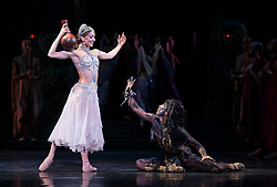La Bayadere <br /> A ballet in three acts <br /> Choreography by Natalia Makarova <br /> After Marius Petipa <br /> The Royal Ballet <br /> At The Royal Opera House, Covent Garden, London, Great Britain <br /> General Rehearsal <br /> 30th October 2018 <br /> <br /> STRICT EMBARGO ON PICTURES UNTIL 2230HRS ON THURSDAY 1ST NOVEMBER 2018 <br /> <br /> Marianela Nunez as Nikiya <br /> A Bayadere and a temple dancer <br /> <br /> <br /> Photograph by Elliott Franks Royal Ballet's Live Cinema Season - La Bayadere is being screened in cinemas around the world on Tuesday 13th November 2018 <br /> --------------------------------------------------------------------