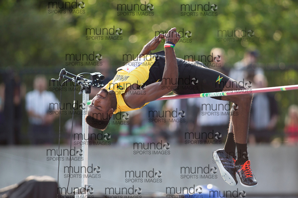 Toronto, ON -- 11 August 2018: Clayton Brown (Jamaica), high jump at the 2018 North America, Central America, and Caribbean Athletics Association (NACAC) Track and Field Championships held at Varsity Stadium, Toronto, Canada. (Photo by Sean Burges / Mundo Sport Images).