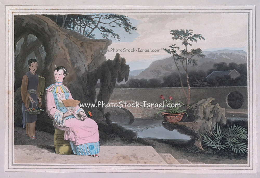 Chinese Lady Artificial rocks are common in Chinese gardens, and when skilfully formed and judiciously introduced have a natural and picturesque effect ; through these scenes water is often conducted with great taste, and their light bridges add both convenience and beauty. colour print from the book ' A Picturesque Voyage to India by Way of China  ' by Thomas Daniell, R.A. and William Daniell, A.R.A. London : Printed for Longman, Hurst, Rees, and Orme, and William Daniell by Thomas Davison, 1810. The Daniells' original watercolors for the scenes depicted herein are now at the Yale Center for British Art, Department of Rare Books and Manuscripts,
