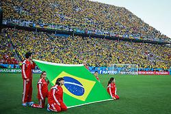 Bandeira do Brasil na abertura da Copa do Mundo 2014, no Estádio Arena Corinthians, em São Paulo. FOTO: Jefferson Bernardes/ Agência Preview