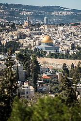 28 February 2020, Jerusalem: View of Jerusalem, including the Dome of the Rock.