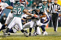 Philadelphia Eagles wide receiver DeSean Jackson #10 is tackled during the NFL game between the Denver Broncos and the Philadelphia Eagles on December 27th 2009. The Eagles won 30-27 at Lincoln Financial Field in Philadelphia, Pennsylvania. (Photo By Brian Garfinkel)