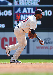 May 2, 2018 - Minneapolis, MN, U.S. - MINNEAPOLIS, MN - MAY 02: Minnesota Twins Infield Gregorio Petit (40) flips to 2nd during a MLB game between the Minnesota Twins and Toronto Blue Jays on May 2, 2018 at Target Field in Minneapolis, MN.The Twins defeated the Blue Jays 4-0.(Photo by Nick Wosika/Icon Sportswire) (Credit Image: © Nick Wosika/Icon SMI via ZUMA Press)