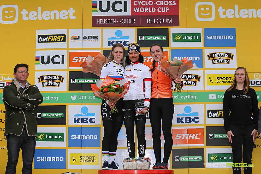 BELGIUM / BELGIE / BELGIQUE / HEUSDEN ZOLDER / CYCLOCROSS / CX / VELDRIJDEN / CYCLO CROSS / SEASON 2019-2020 / SEIZOEN 2019-2020 / TELENET UCI WORLD CUP #7 / WERELDBEKER / COUPE DU MONDE / WOMEN ELITE / PODIUM / CEREMONIE / HULDIGING / (L-R) INGE VAN DER HEIJDEN (NED - CCC) / CEYLIN DEL CARMEN ALVARADO (NED - CORENDON - CIRCUS) / SHIRIN VAN ANROOIJ (NED) /