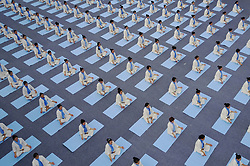 May 14, 2017 - Pu'an, China -  Yoga fans perform ahead of the 2017 national yoga contest in Pu'an County, southwest China's Guizhou Province. (Credit Image: © Xinhua via ZUMA Wire)