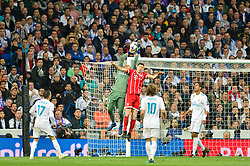 May 2, 2018 - Madrid, Spain - MADRID, SPAIN. May 1, 2018 - Keylor Navas jumps for the ball. With a 2-2 draw against Bayern Munchen, Real Madrid made it to the UEFA Champions League Final for third time in a row. Kimmich and James scored for the german squad while Karim Benzema did it twice for los blancos. Goalkeeper Keylor Navas had a great night with several decisive interventions. (Credit Image: © VW Pics via ZUMA Wire)