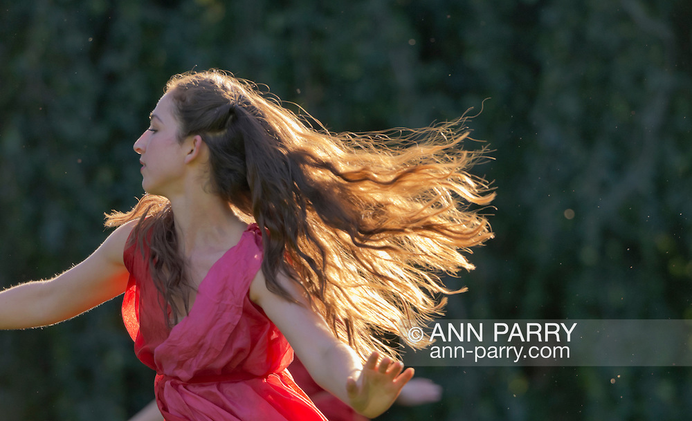 Old Westbury, New York, U.S. - June 21, 2014 - Lori Belilove & The Isadora Duncan Dance Company performs modern dance, dressed in coloful Greek tunics with over-scarves, throughout the gardens during the Midsummer Night event at the Long Island Gold Coast estate of Old Westbury Gardens on the first day of summer, the summer solstice.