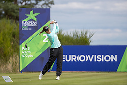 Great Britain's Georgia Hall tees off at the 2nd hole during day ten of the 2018 European Championships at Gleneagles PGA Centenary Course.