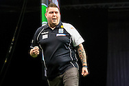Michael Smith celebrates his first win in the Premier League during the PDC Betway Premier League at Westpoint Arena, Exeter, United Kingdom on 3 March 2016. Photo by Shane Healey.
