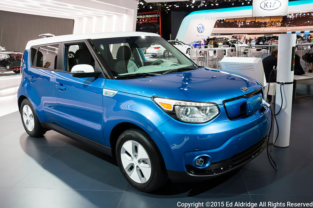 DETROIT, MI, USA - JANUARY 12, 2015: Kia Soul EV on display during the 2015 Detroit International Auto Show at the COBO Center in downtown Detroit.