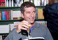 Tony Hawks, author, travel writer, comic, television personality, Britain, UK. Drinking champagne. Booksigning. Taken at Hay Festival. Ref: 200005034.<br /> <br /> Copyright Image from Victor Patterson, Belfast, UK<br /> <br /> t: +44 28 9066 1296 (from Rep of Ireland 048 9066 1296)<br /> m: +44 7802 353836<br /> e: victorpattersonbelfast@gmail.com<br /> <br /> www.images4media.com<br /> <br /> Please see my full Terms and Conditions of Use at https://www.images4media.com/p/terms-conditions - it is IMPORTANT that you familiarise yourself with them.<br /> <br /> Images used online incur an additional cost. This cost should be agreed in writing in advance. Online images must be visibly watermarked i.e. © Victor Patterson or that of the named photographer within the body of the image. The original metadata must not be deleted from images used online.<br /> <br /> This image is only available for the use of the download recipient i.e. television station, newspaper, magazine, book publisher, etc, and must not be passed on to a third party. It is also downloaded on condition that each and every usage is notified within 7 days to victorpattersonbelfast@gmail.com.<br /> <br /> The right of Victor Patterson (or the named photographer) to be identified as the author is asserted in accordance with The Copyright Designs And Patents Act (1988). All moral rights are asserted.