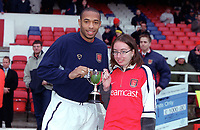 Thierry Henry recieves the player of the month award for October 2000 before the match. Arsenal 0:0 Derby County. F.A. Premiership, 11/11/2000. Credit: Colorsport / Stuart MacFarlane.