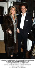 Publisher BEATRICE VINCENZINI and her husband MR HUGO WARRENDER, at a party in London on 18th November 2003.POS 120