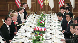 May 27, 2019, Tokyo, Japan: Japanese Prime Minister SHINZO ABE and U.S. President DONALD TRUMP have a working lunch in Tokyo, Japan. The leaders of Japan and the United States underscored the importance of the two countries' alliance at the outset of their talks in Tokyo on Monday. (Credit Image: © Kyodo/Xinhua via ZUMA Wire)
