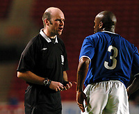 Picture: Henry Browne.<br /> Date: 16/03/2004.<br /> Southampton v Leicester City Barclaycard Premiership Reserve League.<br /> <br /> Frank Sinclair gets told off by the ref for his foul on Darren Kenton - the free kick resulted in Saints' second goal.