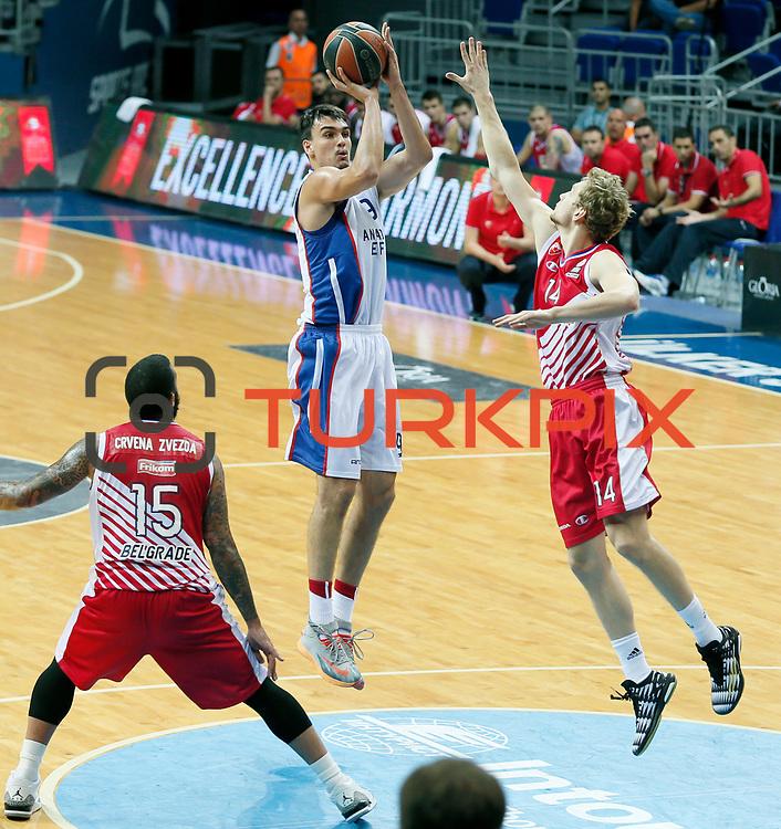 Anadolu Efes's Dario Saric (C) during their Gloria Cup Basketball Tournament match Anadolu Efes between Crvena Zvezda at Ulker Sports Arena in istanbul Turkey on Friday 26 September 2014. Photo by Aykut AKICI/TURKPIX