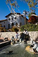 Kids Playing on Bear Statue Water Fountain, Mission San Luis Obispo de Tolosa, California