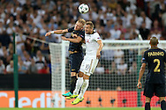 Harry Kane of Tottenham Hotspur and Kamil Glik of AS Monaco compete for the ball. UEFA Champions league match, group E, Tottenham Hotspur v AS Monaco at Wembley Stadium in London on Wednesday 14th September 2016.<br /> pic by John Patrick Fletcher, Andrew Orchard sports photography.