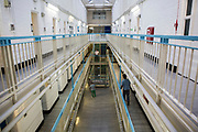 The landings of Grenville wing, HMP/YOI Portland, a resettlement prison with a capacity for 530 prisoners. Dorset, United Kingdom.