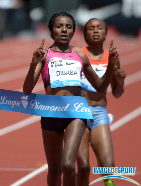 Jun 1, 2013; Eugene, OR, USA; Tirunesh Dibaba (ETH) wins the womens 5,000m in 14:42.01 in the 39th Prefontaine Classic at Hayward Field.