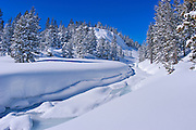 Fresh snow on Lee Vining Creek in winter, Inyo National Forest, Sierra Nevada Mountains, California