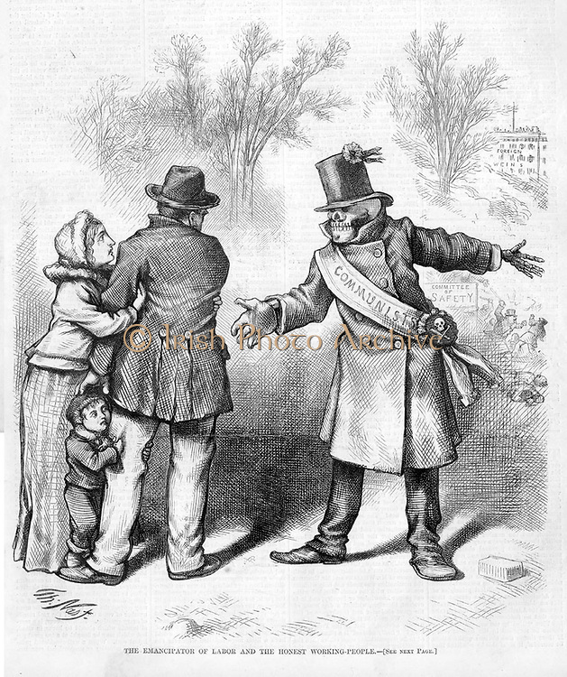 The Emancipator of Labour and the Honest Working People.   Cartoon highlighting the threat of communism. Harper's Weekly, 1874    Engraving