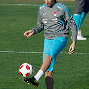 Turkey's national soccer team players Mehmet TOPAL during their a training session in Istanbul March 25, 2011. Turkey will face Austria in the UEFA Euro 2012 qualification soccer match on 29 March 2011.  Photo by TURKPIX