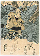 Kabuki theatre actor Bando Mitsugoro.  Kabuki, a highly stylised Japanese dance-drama. Utagawa Kunisada (1786-1864) Japanese artist and printmaker. Coloured woodblock print.