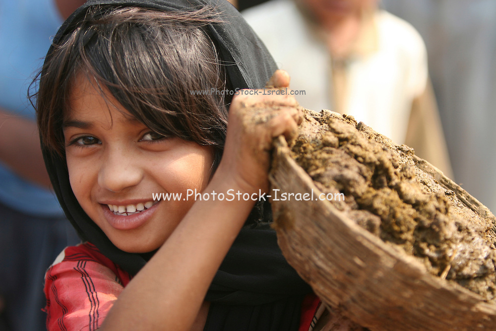 India, smiling girl carrying a basket of cow dung used as a fuel for fire