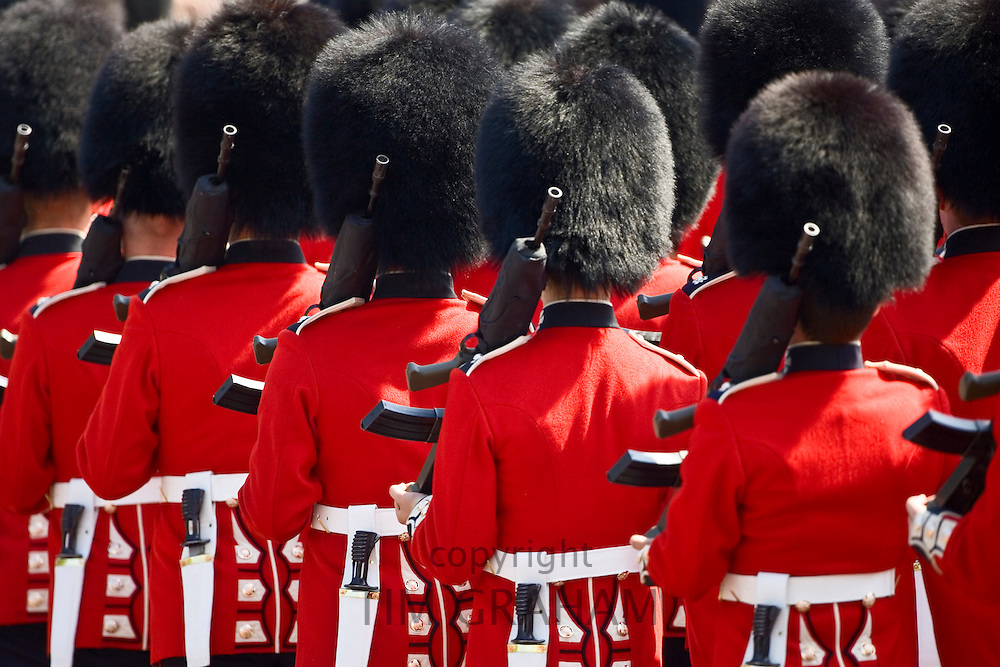 Foot Guards of the Household Division march in Trooping The Colour parade, London, UK