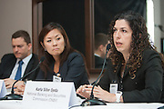 Karla Siller Ojeda, General Director for Supervision of Securities and Derivatives Entities of the Mexican National Banking and Securities Commission (CNBV) on a panel discussion during Global Investor/ISF presents the Pan-American Securities Finance Forum held on September 26, 2013 at the Renaissance New York Hotel 57. The panel title Pan-American regulatory update spoke about attractive lending opportunities exist in markets beyond the borders of the US, from Canada to Mexico<br /> and Brazil, but lenders face additional regulatory challenges. The panel discussed US regulation such as the Fatca as well as initiatives in the wider region that will impact lenders.