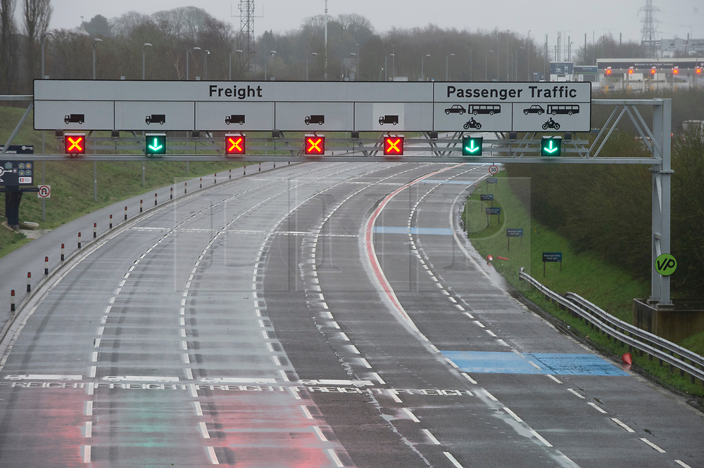 © Licensed to London News Pictures. 21/12/2020. Folkestone, UK. No freight traffic at the Channel Tunnel terminal in Folkestone,Kent. A major police operation is underway in Kent as Operation Stack is implemented on the M20 due to the Port of Dover and Channel Tunnel having to close in response to France closing its border to UK. All freight and passenger traffic have been banned for 48 hours due to the new mutant strain of the Coronavirus in England. traffic. Photo credit:Grant Falvey/LNP