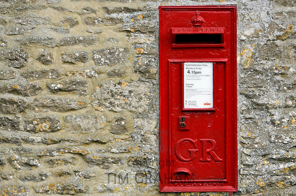 Wall Mounted Post-Box with the cypher GR for the reign of King George, England