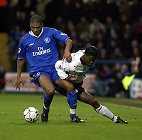 Picture: Henry Browne.<br />Date: 20/12/2003.<br />Fulham v Chelsea  FA Barclaycard Premiership.<br />Glen Johnson and Louis Saha battle it out