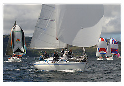 The third days racing at the Bell Lawrie Yachting Series in Tarbert Loch Fyne ..Perfect conditions finally arrived for competitors on the three race courses..Des & Lizzie Balmforth's 3355C  Pure Magic CYCA 6.