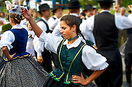 Hungarian folk dancers in tradtional Hungarian costume celebrating the wine festival - Badascony, Hungary .<br /> <br /> Visit our HUNGARY HISTORIC PLACES PHOTO COLLECTIONS for more photos to download or buy as wall art prints https://funkystock.photoshelter.com/gallery-collection/Pictures-Images-of-Hungary-Photos-of-Hungarian-Historic-Landmark-Sites/C0000Te8AnPgxjRg