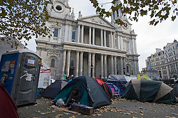 © Licensed to London News Pictures. 16/11/2011. London, UK. The  Occupy London camp outside St Paul's Cathedral Today (16/11/2011). The City of London Corporation has relaunched legal action against the anti-capitalist protesters after peace talks broke down. Photo credit: Ben Cawthra/LNP