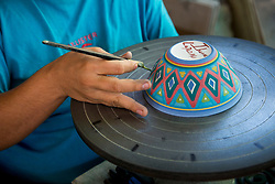 Mexico, Baja Calfornia Sur, La Paz, Ibarra's Pottery, a traditional pottery workshop founded in 1958.  MR, PR