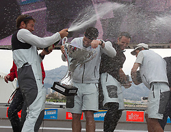 French match racing team celebrate after winning Match Race France   in  Marseille, France 11 April 2010 Photo: Brendon O'Hagan/Subzero images
