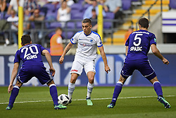 May 20, 2018 - France - Leandro Trossard forward of KRC Genk gets passed Sven Kums midfielder of RSC Anderlecht and Uros Spajic defender of RSC Anderlecht and scores the 0-2  during the Jupiler Pro League play off 1 match (Credit Image: © Panoramic via ZUMA Press)