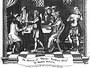 The Burning of Thomas Tomkins Hand by Bishop Bonner'.   Engraving from a 1776 edition of  John Foxe 'The Book of Martyrs', London.  Edmund Bonner (c1500-1569) Bishop of London, torturing Tomkins  in an attempt to make him accept the doctrine of transubstantiation.  Tomkins refused and was burned at the stake at Smithfield, London, on 16 March 1555.