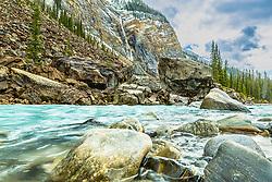 River rock and boulders,Takakkaw Falls, Yoho River, Yoho National Park, Canadian Rockies, British Columbia