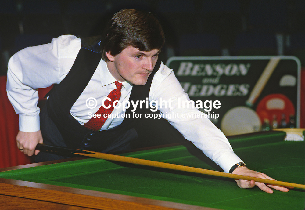 Eugene Hughes, Rep of Ireland, professional snooker player, Irish Masters, Goffs, Rep of Ireland, 198503000033d.<br /> <br /> Copyright Image from Victor Patterson, Belfast, UK<br /> <br /> t: +44 28 9066 1296 (from Rep of Ireland 048 9066 1296)<br /> m: +44 7802 353836<br /> e: victorpattersonbelfast@gmail.com<br /> <br /> www.images4media.com<br /> <br /> Please see my full Terms and Conditions of Use at https://www.images4media.com/p/terms-conditions - it is IMPORTANT that you familiarise yourself with them.<br /> <br /> Images used online incur an additional cost. This cost should be agreed in writing in advance. Online images must be visibly watermarked i.e. © Victor Patterson or that of the named photographer within the body of the image. The original metadata must not be deleted from images used online.<br /> <br /> This image is only available for the use of the download recipient i.e. television station, newspaper, magazine, book publisher, etc, and must not be passed on to a third party. It is also downloaded on condition that each and every usage is notified within 7 days to victorpattersonbelfast@gmail.com.