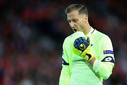23rd August 2017 - UEFA Champions League - Play-Off (2nd Leg) - Liverpool v 1899 Hoffenheim - Hoffenheim goalkeeper Oliver Baumann looks dejected - Photo: Simon Stacpoole / Offside.
