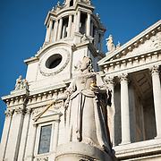 The statue of Queen Victory in the front courtyard of St Paul's Cathedral, one of the most distinctive of London's landmarks. There has been a church on this site since 604 AD. The current building, with it's massive dome, was designed by Christopher Wren and dates back to the late 17th century.