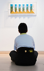 """Christies, St James, London, March 4th 2016. A boy from Charlton Manor Primary School admires Patrick Hughes' """"Shutters"""", a hand painted with lithography piece created in 2003, at the preview for the It's Our World charity auction at Christie's. Over 40 leading artists including David Hockney, Sir Antony Gormley, David Nash, Sir Peter Blake, Yinka Shonibare, Sir Quentin Blake, Emily Young and Maggi Hambling have committed artworks to the It's Our World Auction in support of The Big Draw and Jupiter Artland Foundation, to be sold at Christie's London on 10 March 2016.<br />  ///FOR LICENCING CONTACT: paul@pauldaveycreative.co.uk TEL:+44 (0) 7966 016 296 or +44 (0) 20 8969 6875. ©2015 Paul R Davey. All rights reserved."""