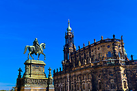 King Johann Monument and the Hofkirche (Dresden Cathedral), Dresden, Saxony, Germany